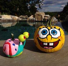 DIY Spongebob and Gary Painted Pumpkins