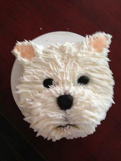 Westie Cake Dog Cupcakes, Animal Cupcakes, Cupcake Cakes, Puppy Cake, Puppy Birthday, Wilton Cakes, Cake Decorating Techniques, Food Humor, Cute Cakes
