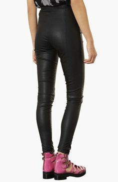 Topshop Faux Leather Seamed Leggings | Nordstrom