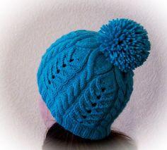 Вязаная синяя шапка с помпоном спицами. Обсуждение на LiveInternet - Российский Сервис Онлайн-Дневников