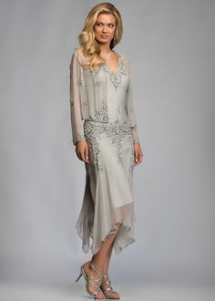 Silver Tea Length Handkerchief Mother of the Bride Dress with Jacket V Neck Sheer Long Sleeve Beaded Chiffon Formal Dresses for Mature Women Mother Of Groom Dresses, Bride Groom Dress, Mothers Dresses, Mother Of The Bride Dresses Knee Length, Mother Of The Bride Dresses Vintage, Bride Gowns, Mother Of The Groom Clothes, Mother Bride Dress, Wedding Dresses For Older Women