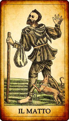 """Carta dei Tarocchi """"IL MATTO"""" Un vagabondo, forse un giullare, procede aiutandosi con un bastone mentre un cane lo segue e gli morde le vesti. Che la carta del matto non abbia un numero ad essa associato, o al più venga considerata la carta numero zero, ne sottolinea la particolarità. SIGNIFICATO nei Tarocchi: La carta del matto può avere un duplice significato: sia positivo che negativo. Il significato pos... MORE: ---> http://www.tarocchigratuiti.it/tarocchi_carte/tarocchi_matto.php"""