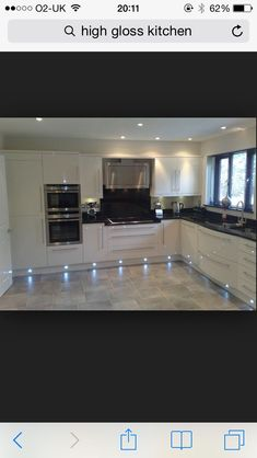 High gloss cream kitchen/ hate the under lights Home Decor Kitchen, Kitchen Living, Interior Design Kitchen, New Kitchen, Kitchen Oven, Kitchen Ideas, Black Kitchens, Home Kitchens, White Kitchens Ideas