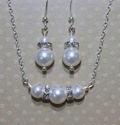Set Bridesmaid Gift,  Swarovski White Pearl Necklace and Earring Set, Bridesmaid Jewelry Set. $17.00, via Etsy.