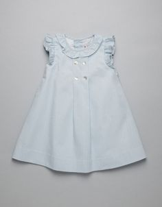 VESTIDO PIQUE CELESTE Fashion Sewing, Kids Fashion, Little Girl Dresses, Girls Dresses, Baby Dress, Dress Girl, Kids Wardrobe, Light Blue Dresses, Chic Dress