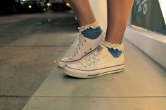 converse new style with topshop lace socks