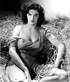"""Jane Russell from """"The Outlaw"""" (1943). This photo was a pin-up favorite of G.I.'s during WWII."""