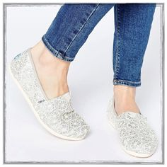 ✨TOMS Classic Crochet Silver Glitter Slip Ons✨ ✨Awesome Toms Classic Crochet Silver Glitter Slip-Ons✨NWTS✨Size 8✨ TOMS Shoes