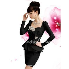 Vintage Sweetheart Neckline Rhinestone Embellished Long Sleeve Peplum Dress For Women