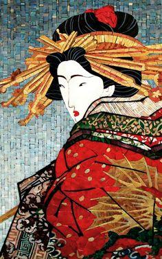 Мозаичное панно Японка