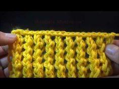 Puntada en dos agujas, Motivo en Realce, muy fácil - YouTube Tutorial, Make It Yourself, Youtube, Long Scarf, Crocheting, Tejidos, Weaving, Stitching, Ornaments