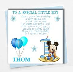 Personalised Mickey Mouse Boy Son Grandson Godson Babies First 1st Birthday Card Quotes