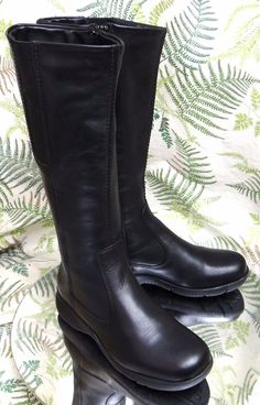 LA CANADIENNE BLACK LEATHER FASHION DRESS ZIP TALL BOOTS SHOES WOMENS SZ 5.5 M   eBay