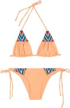 Mara Hoffman Beaded Tie Side Bikini in Orange