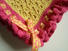 Ribbon & Ruffles Baby Blanket free crochet pattern. Love the color and design and matching ribbon here!