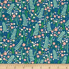 Dear Stella Fresh Dew Secret Garden Pacifica from @fabricdotcom  Designed by Paula & Waffle for Dear Stella, this cotton print fabric features a gorgeous sea of flowers and foliage. Perfect for quilting, apparel and home decor accents. Colors include white, navy, yellow, pale yellow and shades of pink and green.