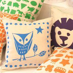 baby owl screenprint cushion by helen rawlinson   notonthehighstreet.com