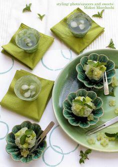和菓子【山あじさいYama-Ajisai~きんとん Kinton】 Bean-jam bun flavored with greentea , mint and…