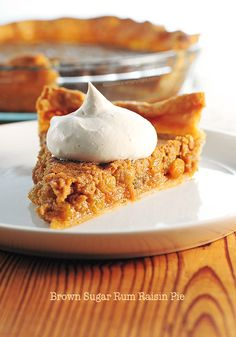 Brown Sugar Rum Raisin Pie - This spiced-up version, Brown Sugar Rum Raisin Pie, is simple and basic, with no fluff. I made quite a few adjustments, using brown sugar instead of regular granulated sugar, golden raisins for the regular brown variety, Greek yogurt replaced sour cream, with some tweaking to the spices. - Amy