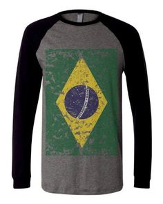 Brazil Brasil Brazillian Big Distressed Flag Football Soccer Mens Size Long Sleeve Baseball T-shirt Tee (Large BLACK)
