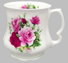 Enjoy coffee, tea, or hot chocolate from this fine bone china mug, made in England.  Victorian elegance is captured with gorgeous pink and burgandy rose bouquets on a white background.  Often referred to as tankards or hot chocolate mugs, these mugs feature a wide, footed base and scalloped edging.   Set of 4 - Victorian Bone China Tankards
