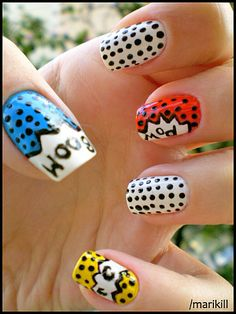 comic book nails- so fun! Pop Art Nails, Nail Pops, Nail Art, Manicure, Mani Pedi, Comic Book Nails, Comic Books, Pop Art Costume, Nails Only