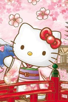 Hello kitty with sakura blossoms Hello Kitty Gifts, Hello Kitty Art, Hello Kitty Items, Sanrio Hello Kitty, Kitty Cam, Hello Kitty Backgrounds, Hello Kitty Wallpaper, Cute Wallpapers, Wallpaper Backgrounds