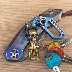 Titanium Key chain Skull Swivel Carabiner by EdcApparatus on Etsy
