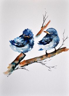 ORIGINAL Watercolor Painting, Small Blue Birds Illustration 6x8 inch by ArtCornerShop on Etsy https://www.etsy.com/listing/209125003/original-watercolor-painting-small-blue