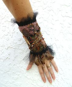 Gypsy tales ooak fiber art gypsy bohemian cuff by Cesart64 on Etsy