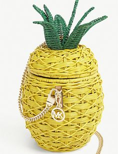 MICHAEL MICHAEL KORS Pineapple wicker and leather crossbody bag