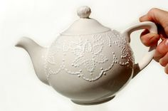 collectors teapot, wedding teapot hand painted