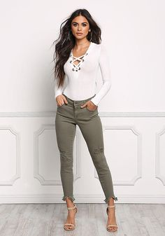 Olive Cut Out Frayed Skinny Jeans - New