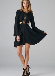 Black Cutout Skater Dress with Lace Panel Detail,  Dress, skater dress  cutout sides, Bohemian (Boho) / Hippie