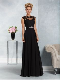dec25b5c867 A-Line Illusion Bodice Lace Chiffon Black Long Mother of The Bride Dresses  907009 Mother