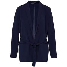 Hallhuber Shawl collar blazer with belt ($120) ❤ liked on Polyvore featuring outerwear, jackets, blazers, blue, women, blue blazer jacket, shawl collar blazer, tie belt, workwear jackets and fleece-lined jackets