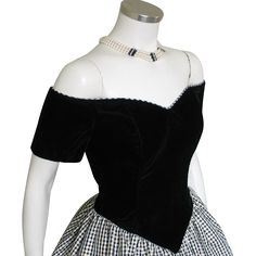 Turn every head when you enter the party in this amazing off-the-shoulder bustier dress of black velvet with widow's peak accent in front, and crinolined skirt of crisp black and white and sparkling gold plaid taffeta  #vintagebeginshere at www.rubylane.com #vintagefashion #partydress