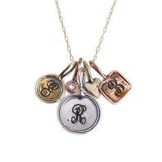 Mix and Match to create a one of a kind necklace! Mix charms of rose gold, gold and silver stamped with initials and make a necklace that is the perfect gift for mom or yourself! Pandora Earrings, Pandora Bracelets, Pandora Jewelry, Silver Bracelets, Silver Jewelry, Pandora Charms, Silver Ring, Silver Earrings, Unusual Wedding Rings