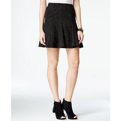 Marilyn Monroe Juniors' Glitter Flared Skirt ($29) ❤ liked on Polyvore featuring skirts, black, black flare skirt, black skater skirt, skater skirt, wet look skirt and black glitter skirt