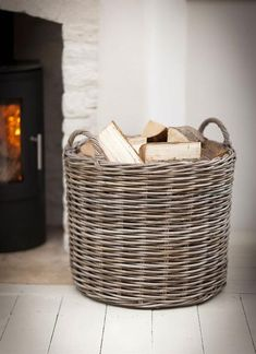 Large Round Wicker Log Basket by Fireside by Garden Trading Firewood Basket, Firewood Storage, Storage Baskets, Fireplace Logs, Rattan Basket, Living Room Storage, Wood Burner, Winter House, Household Items