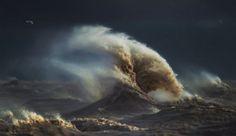 Le photographe Dave Sandford immortalise de superbes photos de vagues ressemblant à des montagnes d'eau, au lac Érié aux Etats Unis.