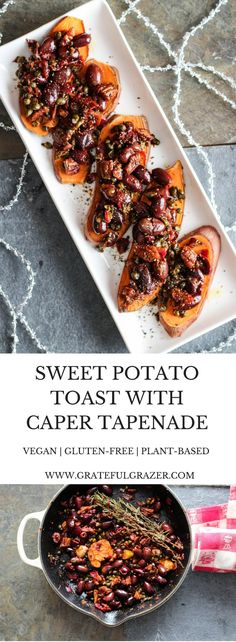 Sweet potato toast topped with a savory tapenade of olives, capers, garlic, and fresh herbs. Healthy holiday party appetizer! Gluten-Free. via @gratefulgrazer