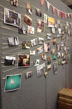 Great way to display photos with string and mini pegs