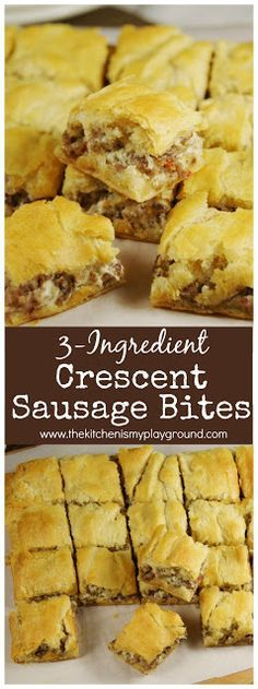 3-Ingredient Crescent Sausage Bites ~ Looking for easy #party food? These little bites are so easy to make, and ALWAYS a hit! #partyfood #gameday #crescentrolls #thekitchenismyplayground www.thekitchenismyplayground.com