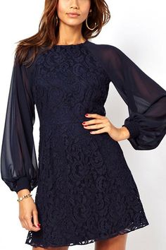 It features a round neck, fitted waist, slit back with a button closure, long puff sleeves, crochet floral lace detail, and fully lining. Throw on your favorite peep toe heels for a dressy night out!