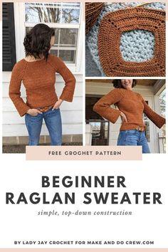 Crochet Jumper Pattern, Gilet Crochet, Crochet Diy, Modern Crochet, Sweater Knitting Patterns, Crochet Cardigan, Tutorial Crochet, Crochet Sweaters, Diy Crochet Clothes