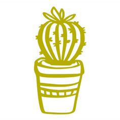 Silhouette Design Store: Cactus In A Pot Cactus, Silhouette Cameo Projects, Silhouette Design, Big Little Gifts, Arts And Crafts, Paper Crafts, Scrap, Silhouette Portrait, Flower Template