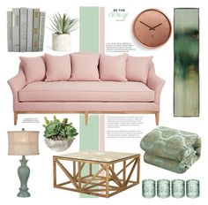 """""""Color Challenge: Green and Blush"""" by bklana ❤ liked on Polyvore featuring interior, interiors, interior design, home, home decor, interior decorating, Jayson Home, Umbra, Chic Home and Kate Aspen"""