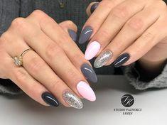 Wyk.Martyna  #gelnails #gel #gelish #polishgirl #polish #pinknails #pink #grey #greynails #manicure #hybrydanails #acrylicnails #poland…