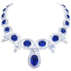 Preowned Stunning Sapphire And Diamond Necklace (€111.300) ❤ liked on Polyvore featuring jewelry, necklaces, accessories, blue, pre owned jewelry, diamond jewellery, sapphire diamond necklace, blue jewelry and blue diamond necklace